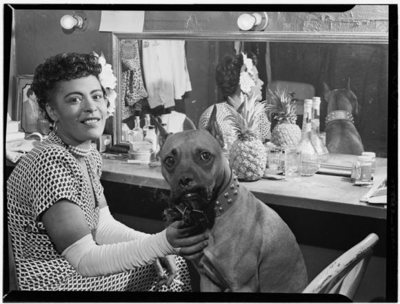 Billie with her dog, Mister. Photograph by William P. Gottlieb, 1946.